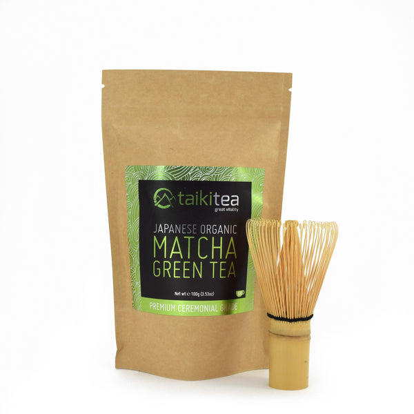 Premium Organic Matcha Packet 100g with Free Handmade Matcha Whisk