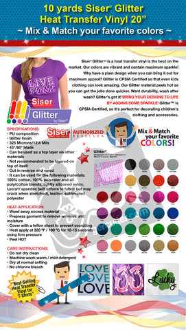 "10 Yards Siser Glitter Heat Transfer Vinyl 20"" (Mix & Match your favorite colors) - gercuttervinyl"