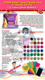 "SISER Glitter Heat Transfer Vinyl, 12 Sheets, 20"" x 12"", 12 Colors Starter BUNDLE - gercuttervinyl"