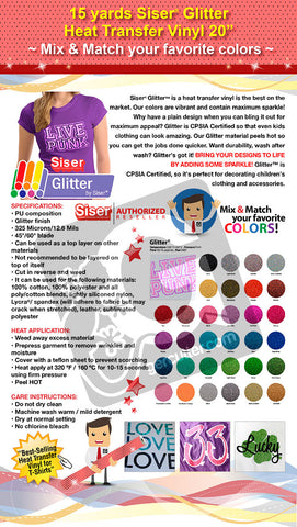 "15 Yards Siser Glitter Heat Transfer Vinyl 20"" (Mix & Match your favorite colors) - gercuttervinyl"