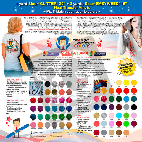 GERCUTTER Store: 1 yard SISER GLITTER + 2 yards SISER EASYWEED Heat Transfer Vinyl on Cotton or Polyester Mesh and Poly-blend Fabrics (Mix & Match your favorite colors) - gercuttervinyl