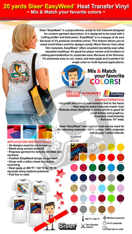 "20 Yards SISER EASYWEED 15"" Heat Transfer Vinyl (Mix & Match your favorite colors) - gercuttervinyl"