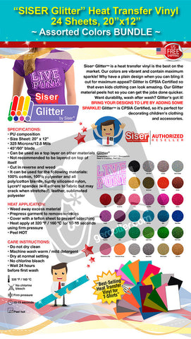 "SISER Glitter Heat Transfer Vinyl, 24 Sheets, 20"" x 12"", Assorted Colors BUNDLE - gercuttervinyl"