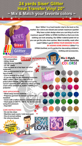 "24 Yards Heat Transfer Vinyl 20"" Siser Glitter - Cricut Die cut CraftROBO on Cotton or Polyester mesh and Poly-blend fabrics (Mix & Match colors) - gercuttervinyl"