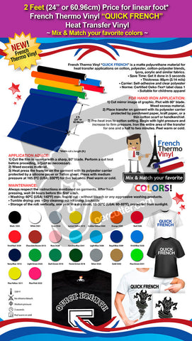 "2 Feet (24"") French Thermo Vinyl ""QUICK FRENCH"" Heat Transfer Vinyl on Cotton or Polyester Mesh and Poly-blend Fabrics - Price for linear foot (Mix & Match your favorite colors) - gercuttervinyl"
