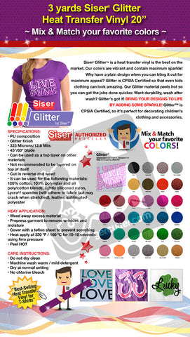 "3 Yards Heat Transfer Vinyl 20"" Siser Glitter - Cricut Die cut CraftROBO on Cotton or Polyester mesh and Poly-blend fabrics (Mix & Match colors) - gercuttervinyl"