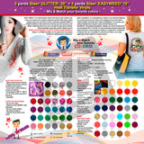GERCUTTER Store: 3 yards SISER GLITTER + 3 yards SISER EASYWEED Heat Transfer Vinyl on Cotton or Polyester Mesh and Poly-blend Fabrics (Mix & Match your favorite colors) - gercuttervinyl