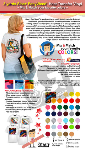 "3 Yards SISER EASYWEED 15"" Heat Transfer Vinyl (Mix & Match your favorite colors) - gercuttervinyl"
