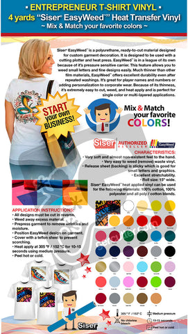 "ENTREPRENEUR T-SHIRT VINYL: 4 yards ""SISER EASYWEED"" Heat Transfer Vinyl - Mix & Match your favorite colors - gercuttervinyl"