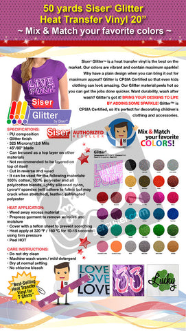 "50 Yards Heat Transfer Vinyl 20"" Siser Glitter - Cricut Die cut CraftROBO on Cotton or Polyester mesh and Poly-blend fabrics (Mix & Match colors) - gercuttervinyl"