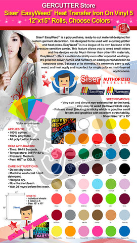 "Siser EasyWeed Heat Transfer Iron On Vinyl 5 (12"" x 15"") Rolls, Choose Colors - gercuttervinyl"