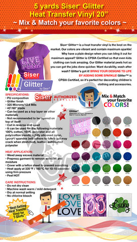 "5 Yards Siser Glitter Heat Transfer Vinyl 20"" (Mix & Match your favorite colors) - gercuttervinyl"