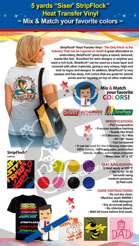5 Yards Siser STRIPFLOCK Heat Transfer Vinyl (Mix & Match your favorite colours) - gercuttervinyl