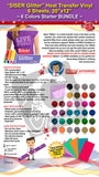 "SISER Glitter Heat Transfer Vinyl, 6 Sheets, 20"" x 12"", 6 Colors Starter BUNDLE - gercuttervinyl"