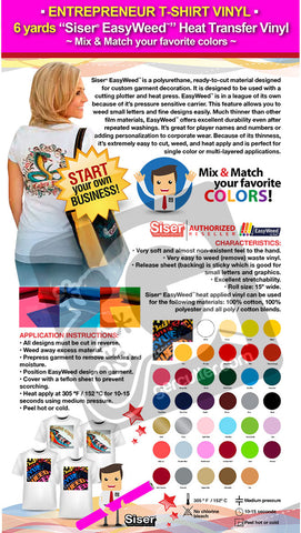 "ENTREPRENEUR T-SHIRT VINYL: 6 yards ""SISER EASYWEED"" Heat Transfer Vinyl - Mix & Match your favorite colors - gercuttervinyl"