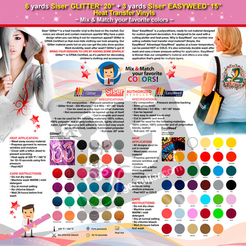 GERCUTTER Store: 6 yards SISER GLITTER + 3 yards SISER EASYWEED Heat Transfer Vinyl on Cotton or Polyester Mesh and Poly-blend Fabrics (Mix & Match your favorite colors) - gercuttervinyl