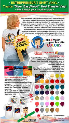 "ENTREPRENEUR T-SHIRT VINYL: 7 yards ""SISER EASYWEED"" Heat Transfer Vinyl - Mix & Match your favorite colors - gercuttervinyl"
