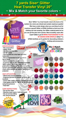 "7 Yards Siser Glitter Heat Transfer Vinyl 20"" (Mix & Match your favorite colors) - gercuttervinyl"