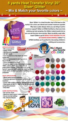 "8 Yards Heat Transfer Vinyl 20"" Siser Glitter - Cricut Die cut CraftROBO on Cotton or Polyester mesh and Poly-blend fabrics (Mix & Match colors) - gercuttervinyl"