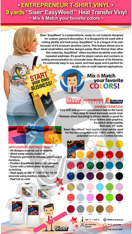 "ENTREPRENEUR T-SHIRT VINYL: 9 yards ""SISER EASYWEED"" Heat Transfer Vinyl - Mix & Match your favorite colors - gercuttervinyl"