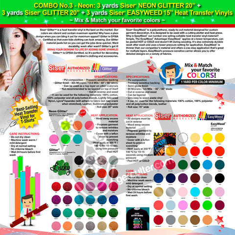 "GERCUTTER Store - COMBO No.3 Neon: 3 yards SISER NEON GLITTER 20"" + 3 yards SISER GLITTER 20"" + 3 yards SISER EASYWEED 15"" Heat Transfer Vinyls (Mix & Match your favorite colors) - gercuttervinyl"