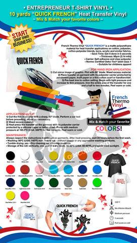"ENTREPRENEUR T-SHIRT VINYL: 10 yards French Thermo Vinyl ""QUICK FRENCH"" Heat Transfer Vinyl (Mix & Match your favorite colors)"