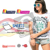 "GERCUTTER Store - Siser EasyWeed® Heat Transfer Vinyl, 12"" x 12"" - 6 Color Sheets Starter BUNDLE - gercuttervinyl"