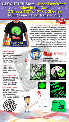 "GERCUTTER Store - Siser EasyWeed ""Glow in the Dark"", 2 Sheets (12"" x 15"" x 2 Sheets) T-Shirt Iron-on Heat Transfer Vinyl - gercuttervinyl"