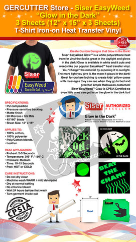 "GERCUTTER Store - Siser EasyWeed ""Glow in the Dark"", 3 Sheets (12"" x 15"" x 3 Sheets) T-Shirt Iron-on Heat Transfer Vinyl - gercuttervinyl"