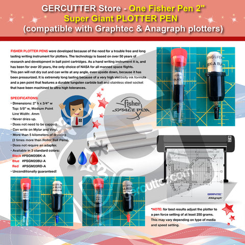 "GERCUTTER Store - One Fisher 2"" - Super Giant Plotter Pen (compatible with Graphtec and Anagraph plotters) - gercuttervinyl"