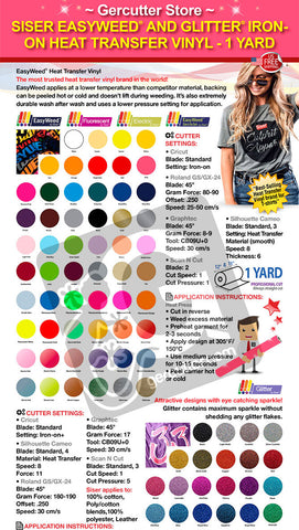 GERCUTTER Store - Siser EasyWeed and Glitter IRON-ON Heat Transfer Vinyl - 1 Yard - gercuttervinyl