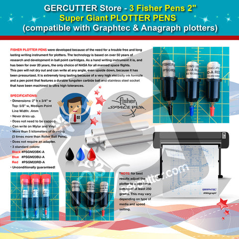 "GERCUTTER Store - 3 Fisher 2"" - Super Giant Plotter Pens (compatible with Graphtec and Anagraph plotters) - gercuttervinyl"
