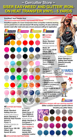 GERCUTTER Store - Siser EasyWeed and Glitter IRON-ON Heat Transfer Vinyl - 5 Yards - gercuttervinyl