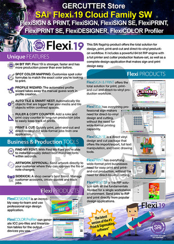 SAi® Flexi® 19 Cloud Family SW (FlexiSIGN, FlexiPRINT, FlexiDESIGNER) *Software Key - gercuttervinyl