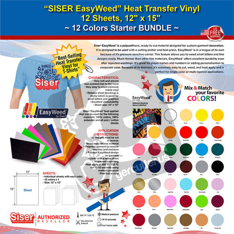 "SISER EasyWeed Heat Transfer Vinyl, 12 Sheets, 12"" x 15"", 12 Colors Starter BUNDLE - gercuttervinyl"