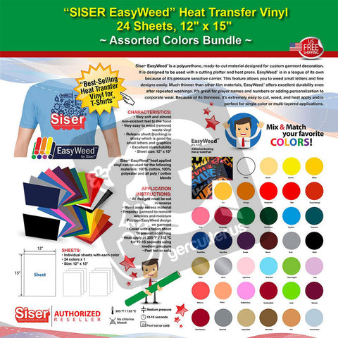 "SISER EasyWeed Heat Transfer Vinyl, 24 Sheets, 12"" x 15"", Assorted Colors Bundle - gercuttervinyl"