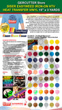 "Siser EasyWeed IRON-ON HTV Heat Transfer Vinyl, 15"" x 3 Yards - gercuttervinyl"