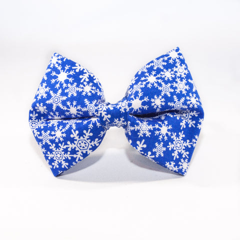 Christmas Snowflake Dog Bow Tie in Blue