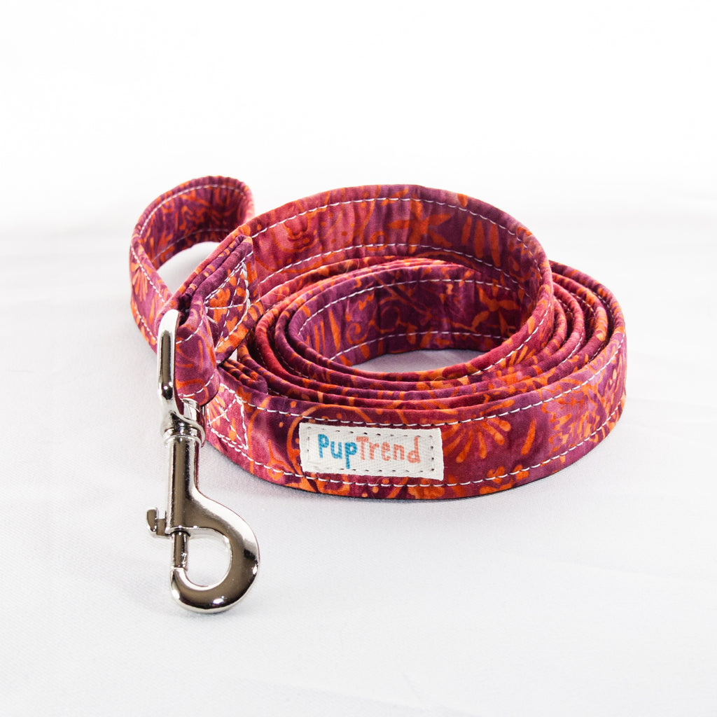 Fall Batik Designer Dog Leash 6'
