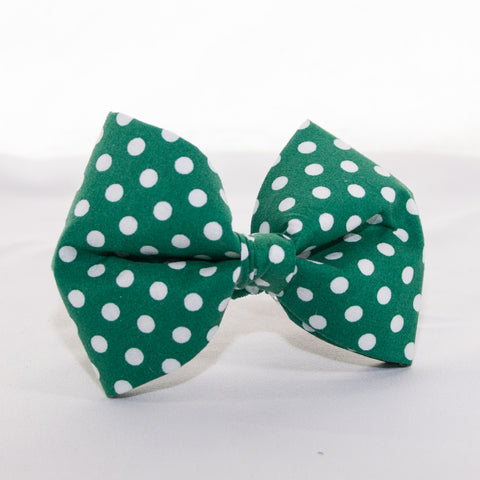 Green Polka Dot Dog Bow Tie