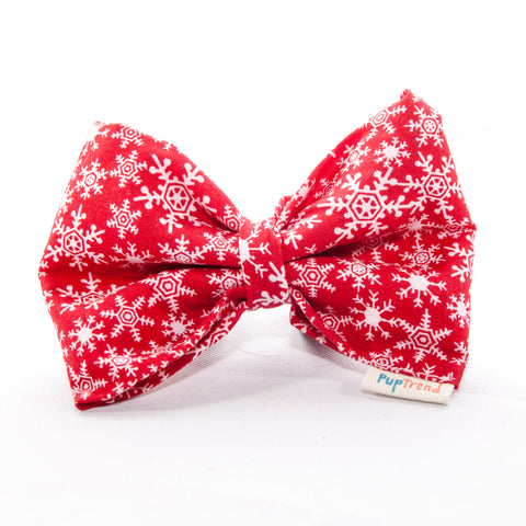 Christmas Snowflake Dog Bow Tie in Red