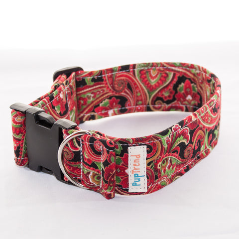 Christmas Paisley Designer Dog Collar