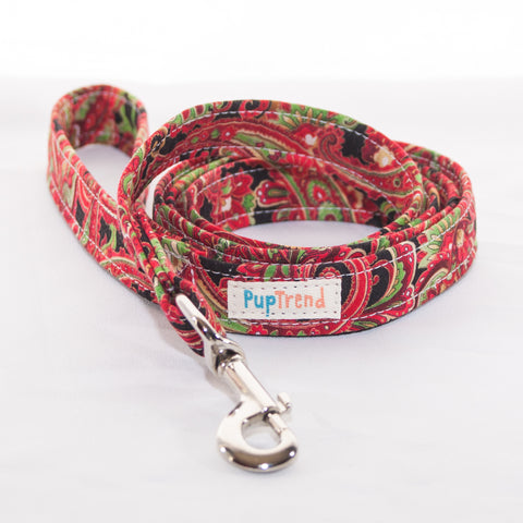 Christmas Paisley Designer Dog Leash 6'