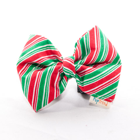 Christmas Striped Dog Bow Tie