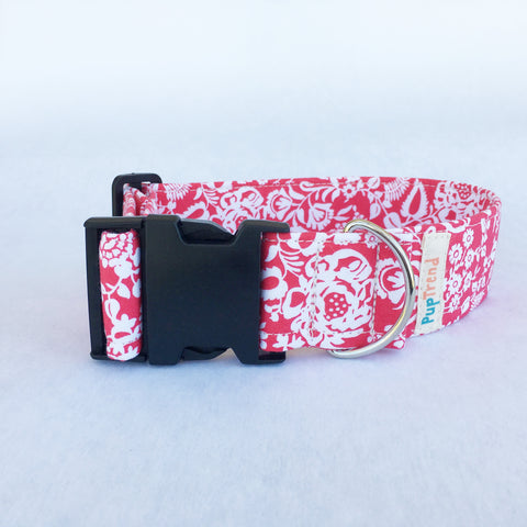 Coral Floral Designer Dog Collar - Clearance - 50% off!