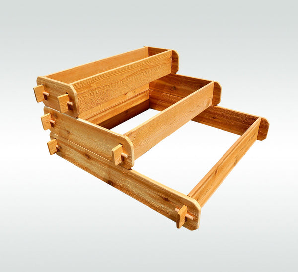 Timberlane Gardens Raised Garden Bed Kit 3 Tiered (1x3 2x3 3x3) Western Red Cedar Elevated Planter - Timberlane Gardens