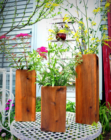 Cedar Planter Boxes, Set of Three Vases | Wedding Table Centerpieces Wedding Vases Outdoor Planters Herb Planters Flower Boxes Flower Vases - Timberlane Gardens