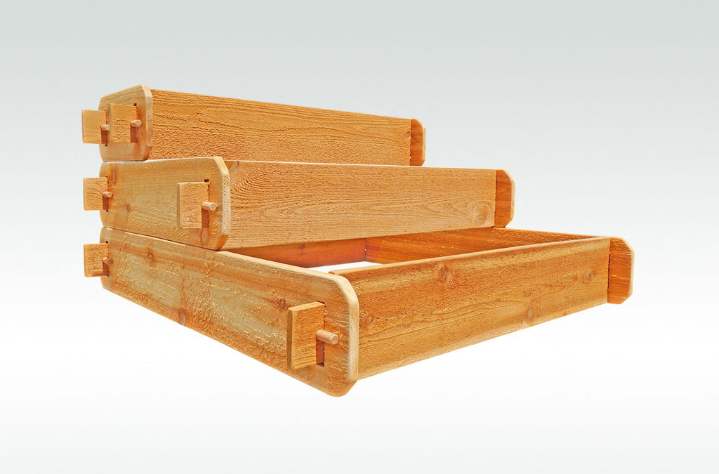 Timberlane Gardens Raised Bed Kit 3 Tiered (1x3 2x3 3x3) Western Red Cedar Elevated Planter with Mortise and Tenon Joinery 3 Feet x 3 Feet