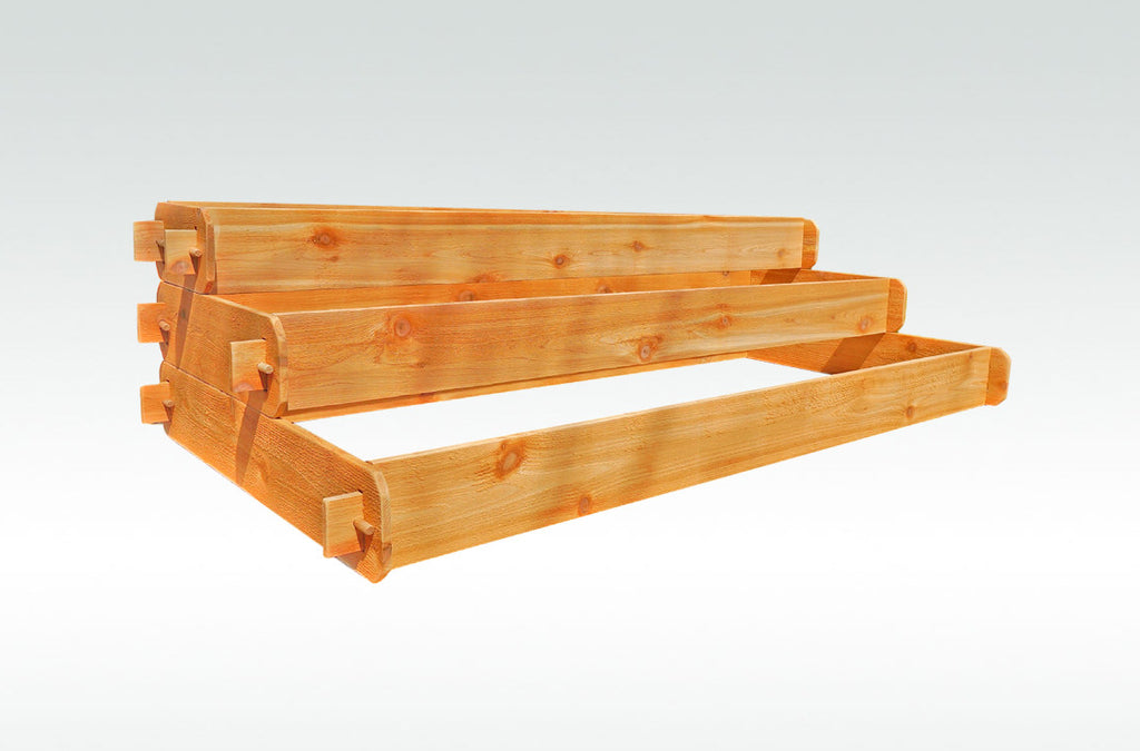 Timberlane Gardens Raised Bed Kit Large 3 Tiered (1x6 2x6 3x6) Western Red Cedar Elevated Planter with Mortise and Tenon Joinery 3 Feet x 6 Feet