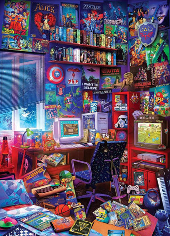 '80s Game Room Pop Culture 1000 Piece Jigsaw Puzzle By Rachid Lotf